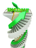 Income growth concept. Spiral dollar stack with arrows isolated on white Royalty Free Stock Photos