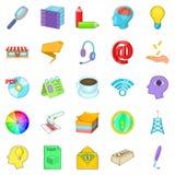 Income icons set, cartoon style Stock Image