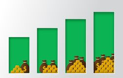 Income increase graph, financial strategy.  Paper cut style vector. Income increase graph, financial strategy, high return on investment, money and gold balance Stock Photography