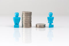Income inequality concept with figurines and coins. Income inequality concept shown with male and female figurines and piles of coins Stock Photo