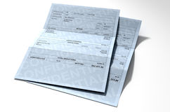 Income Inequality Paychecks. A 3D render concept showing two fictitious paychecks with a huge difference in the nett pay highlighting the income inequality Royalty Free Stock Photos