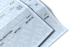 Income Inequality Paychecks. A 3D render concept showing two fictitious paychecks with a huge difference in the nett pay highlighting the income inequality Royalty Free Stock Photography