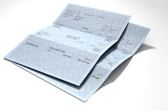Income Inequality Paychecks. A 3D render concept showing two fictitious paychecks with a huge difference in the nett pay highlighting the income inequality Stock Photos
