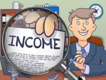 Income through Magnifier. Doodle Concept. Royalty Free Stock Photos