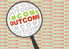 Income and outcome in magnifier. Stock Image