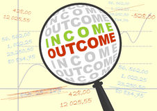 Income and outcome in magnifier. Royalty Free Stock Photos