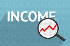 Income and profit increase. White word income and magnifying glass with graph of profit increase inside, on blue background. Business and success Royalty Free Stock Photos