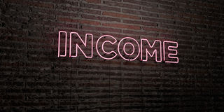 INCOME -Realistic Neon Sign on Brick Wall background - 3D rendered royalty free stock image Stock Photography