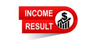 Income result banner. Icon on isolated white background - vector illustration Stock Photo