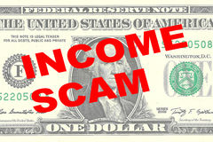 Income Scam - financial concept Stock Image