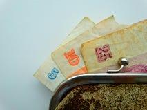Income Soviet people. Salary money bills purse Stock Photos
