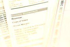 Income statement. Financial document with the focus on the word income statement Stock Image