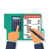 Income statement. Accounting finance. Income money. Men write documents, statement of income. Income statement vector illustration, flat design. Counting Royalty Free Stock Image