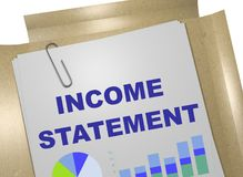 INCOME STATEMENT concept. 3D illustration of INCOME STATEMENT title on business document Stock Photos