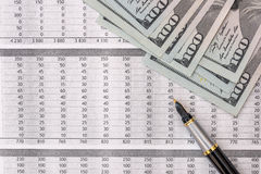 Income statement financial report  with us dollar, Royalty Free Stock Images