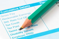 The income statement and pencil. Close-up Royalty Free Stock Photo