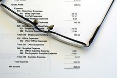Income Statement with Reading Glasses. This is a close up image of an income statement with a pair of reading glasses royalty free stock photo