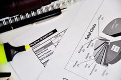 Income statement spreadsheet Stock Photo