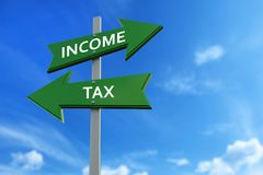 Income and tax arrows opposite directions. Arrows pointing two opposite directions towards income and tax Royalty Free Stock Image