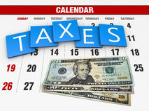 Income tax. As a concept in the background calendar Stock Images