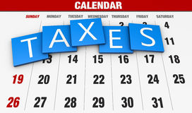 Income tax. As a concept in the background calendar Stock Photos