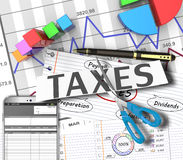 Income tax. As a concept in the background graphs stock photography