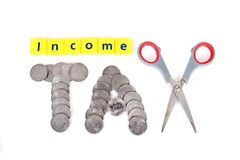 Income tax. Beautiful concept shot of income tax on white background royalty free stock images