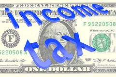 Income Tax concept. 3D illustration of Income Tax title on Dollar bill as a background Stock Images