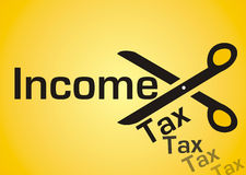 Income tax cut. Illustration of income tax cut isolated on yellow background Royalty Free Stock Images