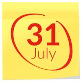 Income Tax Filing Deadline - 31st July - Marker Note. Illustration as ep s10 File Stock Images