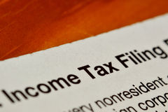 Income tax filing form Royalty Free Stock Photos