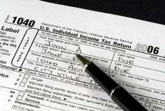 Income Tax Form. Detail view of an Income Tax form about to be completed Stock Photography