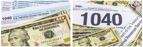 Income tax 1040 form cash money. We the people statement on ten dollar American money paper bill stack pile is financial management concept symbol with national Stock Images