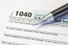 Income tax form. Close - up U.S. income tax form royalty free stock image