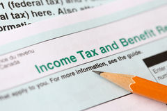 Income tax form. Close up view of the income tax return royalty free stock photography