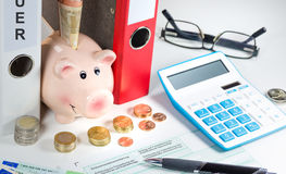 Income tax. Forms and calculator for income tax royalty free stock photo
