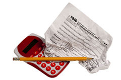 Income Tax Frustration. A crumpled tax form illustrates income tax frustration Stock Photos