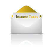 Income tax golden envelope Stock Images