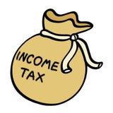 Income tax money sack illustration. Income tax money bag illustration Royalty Free Stock Photo
