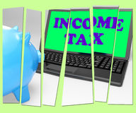 Income Tax Piggy Bank Means Taxation On Earnings Royalty Free Stock Photography