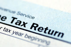 Income tax return. Close up view of the income tax return Stock Image