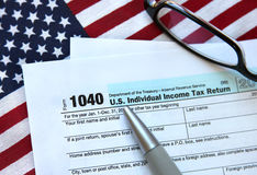 Income tax return. US individual income tax return form document Royalty Free Stock Photos