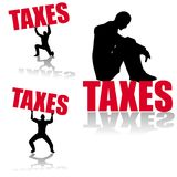 Income Tax Silhouettes. An illustration featuring your choice of 3 silhouette figures interacting with the word Taxes Stock Image