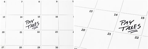 Income tax time payment calendar. Federal state local income property tax taxes due blank calendar marked payment white copy space background collage Royalty Free Stock Images