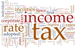 Income tax word cloud Stock Photography