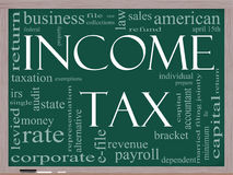 Income Tax Word Cloud concept on a Blackboard. A word cloud concept around the words Income Tax on a blackboard with great terms such as April, refund, rate royalty free illustration