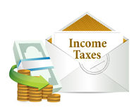 Income taxes mail and cash Royalty Free Stock Photo