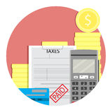 Income taxes paid. Vector tax income, irs and money, tax season illustration Stock Photos