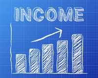 Income Up Blueprint. Increasing graph and income word on blueprint background Royalty Free Stock Photography