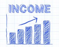 Income Up Graph Paper. Increasing graph and income word on graph paper background Royalty Free Stock Image